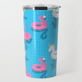 Pool Party flamingo, unicorn Travel Mug