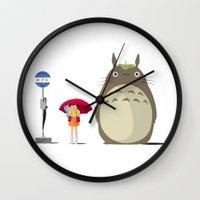studio ghibli Wall Clocks featuring Studio Ghibli by adovemore