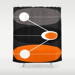 Orange, black, and gray Mid Century Modern Print Shower Curtain
