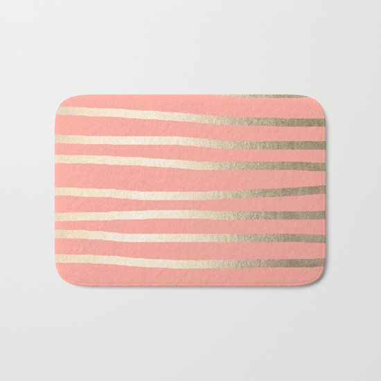 Simply Drawn Stripes in White Gold Sands and Salmon Pink Bath Mat