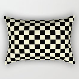 Black and Cream Yellow Checkerboard Rectangular Pillow