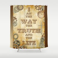 verse Shower Curtains featuring Bible Verse Steampunk Way Truth Life by Whimsy and Nonsense