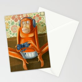 Monkey play Stationery Cards