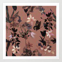 Autumn flowers in the garden Art Print