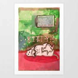 Kitty in Pink Art Print