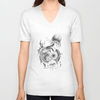 snail V-neck T-shirts featuring snail by Dominic Damien