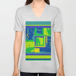 Paint Splatter Sci Fi in blue green teal yellow aquamarine graphic design Unisex V-Neck