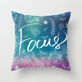 Blue Teal Purple Focus Meditation Spirituality Sucess Typography Floral Illustrations Quote Art Throw Pillow