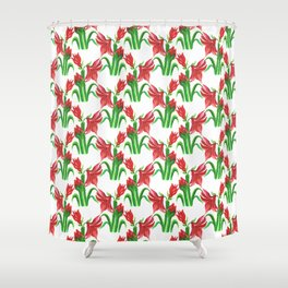 Christmas Amaryllis Flower Watercolor Decor Shower Curtain