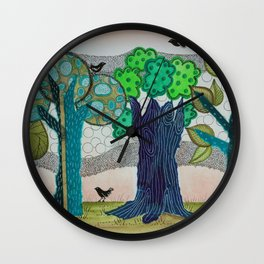 Blue trees Wall Clock