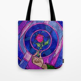 Enchanted Rose Stained Glass Tote Bag
