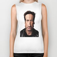celebrity Biker Tanks featuring Celebrity Sunday ~ David Duchovny by rob art | illustration