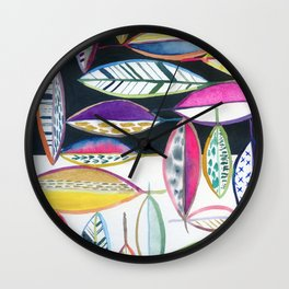 leaves in black and white Wall Clock
