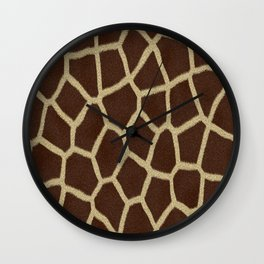 primitive safari animal brown and tan giraffe spots Wall Clock
