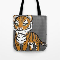 tigers Tote Bags featuring TIGERs by hoshi-kou