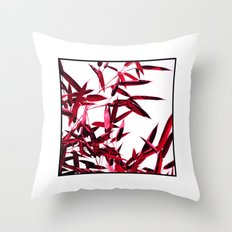 red bamboo abstract I Throw Pillow