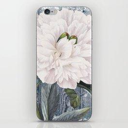 White Peony On Winter Grey Fence iPhone Skin