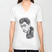 alex turner V-neck T-shirts featuring Typo-songs Alex Turner by Daniac Design