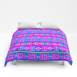 Colorful Mexican Aztec geometric pattern Comforters
