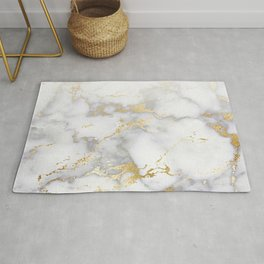 Blush chic faux gold gray gradient marble Rug
