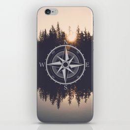Wooded Lake Reflection Compass iPhone Skin