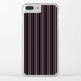 Eggplant Violet and Black Vertical Var Size Stripes Clear iPhone Case