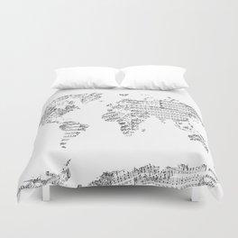 world map music vintage white Duvet Cover
