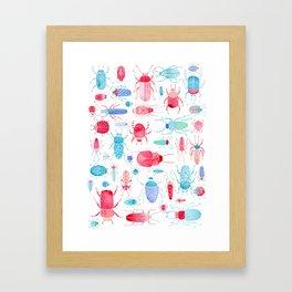 Watercolor Beetles Framed Art Print