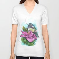 hibiscus V-neck T-shirts featuring Hibiscus by Maria Trillidou
