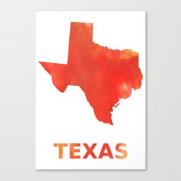 Texas map outline Tomato stained watercolor texture Canvas Print