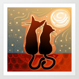 couple of cats in love on a house roof Art Print