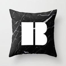 Black Marble - Alphabet B Throw Pillow