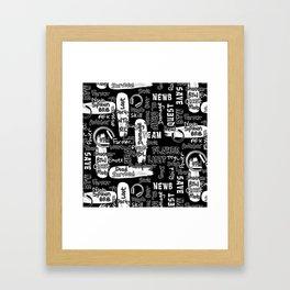 Gamer Lingo-Black and White Framed Art Print