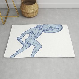 Hercules With Shield and Sword Drawing Rug