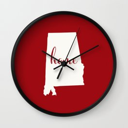 Alabama is Home - White on Red Wall Clock