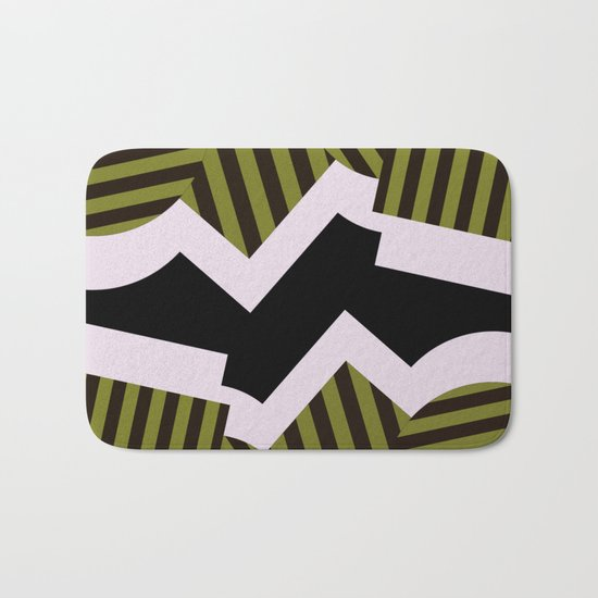 Bold Stripes - Black and white, brown and khaki stripes, abstract geometry Bath Mat