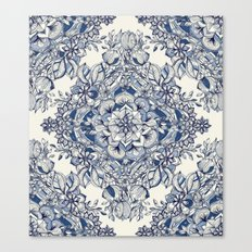 Floral Diamond Doodle in Dark Blue and Cream Canvas Print