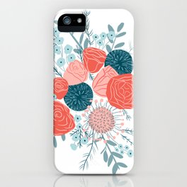 Muted florals on white iPhone Case