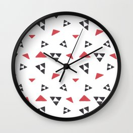 Hand painted watercolor black red geometrical triangles Wall Clock