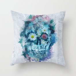 floral skull 2 Throw Pillow