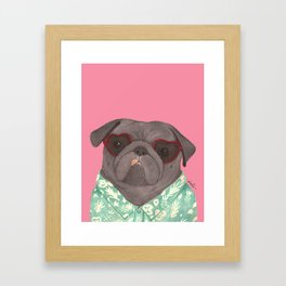 Hawaiian Pug Framed Art Print