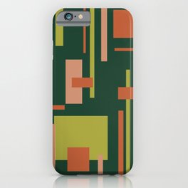 Cityscape Mid-Century Modern Abstract in Coral and Green iPhone Case