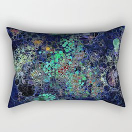 Dark Indigo Turquoise Abstract Design Rectangular Pillow