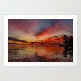 Fire Red Colington Sunset Art Print