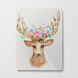 Deer with Flower Crown Metal Print