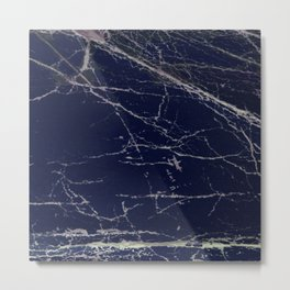 Blue Marble Crease Texture Design Metal Print