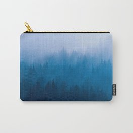 Blue Mountain Pine Trees Blue Ombre Gradient Colorful Landscape photo Carry-All Pouch