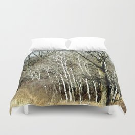 Watercolor Winter Birch Trees in Wisconsin Duvet Cover