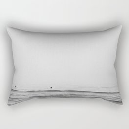 Surfers - Black and White Ocean Photography Huntington Beach California Rectangular Pillow
