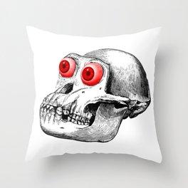 Monkey Skull Throw Pillow